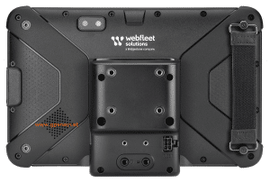 Webfleet Solutions Fahrerterminal PRO 8475 u. PRO 8475 TRUCK Rückseite mit Halterung und Strap Halterung