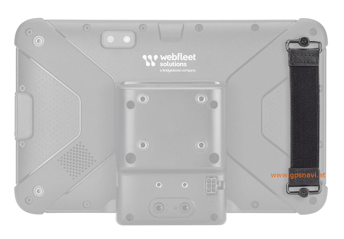 Webfleet Solutions Strap Halterung montiert auf der Rückseite des PRO 8475 u. PRO 8475 TRUCK