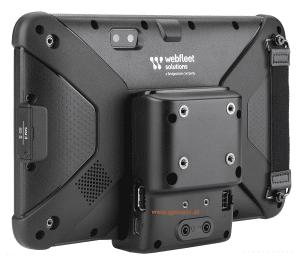 Webfleet Solutions Fahrerterminal PRO 8475 u. PRO 8475 TRUCK Rückseite mit sichtbaren Kontakten der KFZ Halterung und Strap Halterung