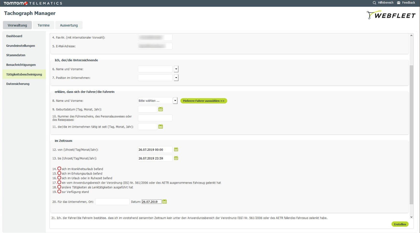 WEBFLEET® Tachograph Manager