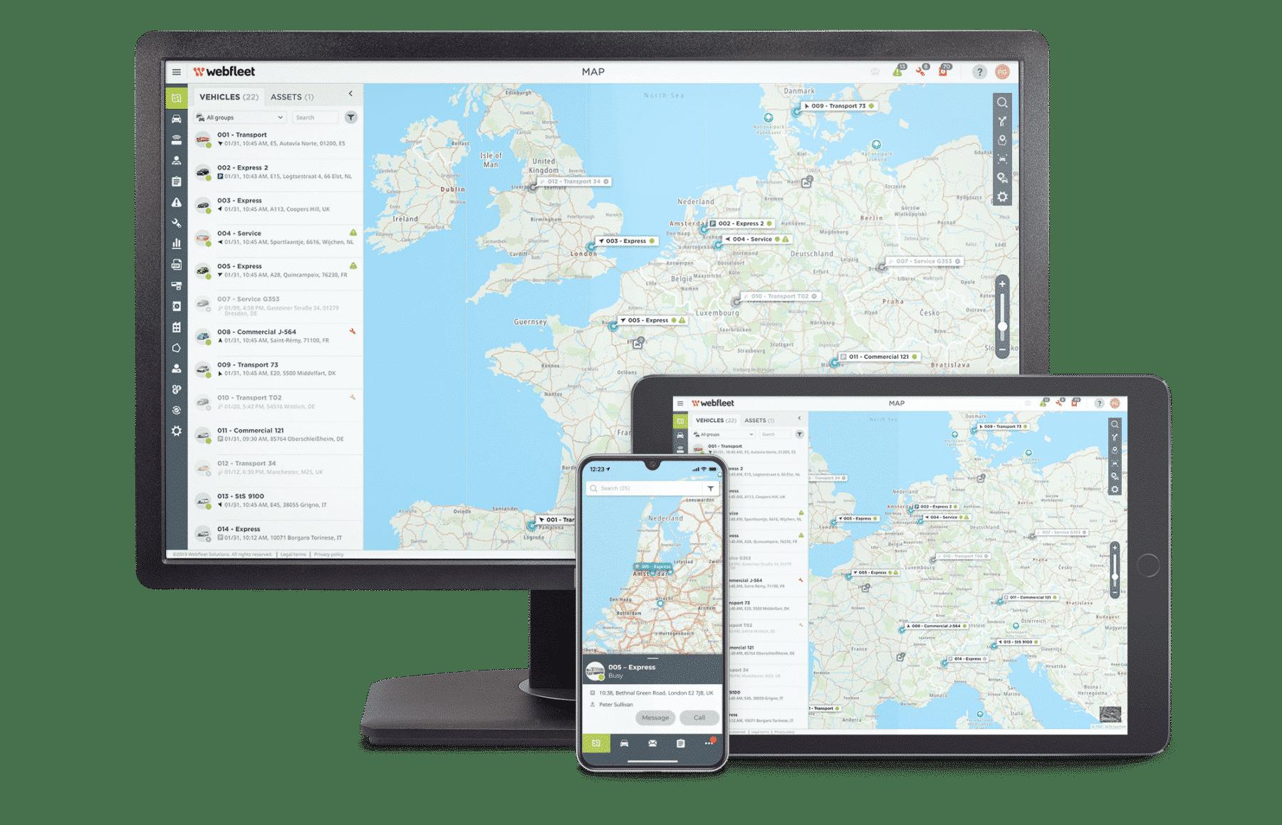 WEBFLEET® Telematikplattform Desktop und WEBFLEET Mobile